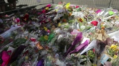 Martin Place memorial pan of flowers Stock Footage