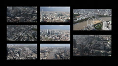 London city  skyline financial business skyscrapers helicopter Stock Footage