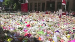 Martin Place Sydney siege memorial Stock Footage