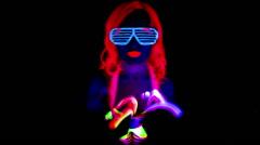 Uv poi raver sexy female dancer disco music acrobat Stock Footage