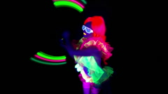 Uv poi raver sexy female dancer disco music acrobat Stock Footage