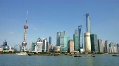 4K, UHD, Panorama of Shanghai Skyline in Pudong District, China, BlackMagic - stock footage