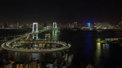 tokyo japan city rainbow bridge skyline harbour - stock footage