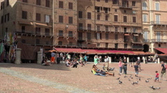 Siena Italy historic Piazza del Campo family 4K 017 - stock footage