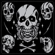Skull and Rose - stock illustration