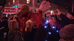 Toronto winter solstice celebration and parade in Kensington market. Stock Footage