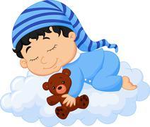 Cartoon Baby sleeping cloud Stock Illustration