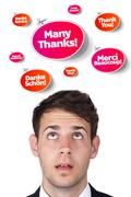Young head looking at recreational signs - stock photo