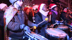 Toronto winter solstice celebration and parade in Kensington market. - stock footage