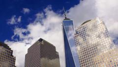 New York City with Passing Clouds over World Trade Center Stock Footage