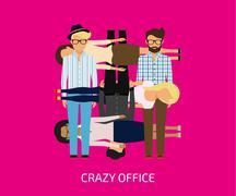 Crazy office Stock Illustration