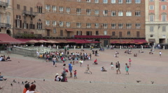 Siena Italy historic Piazza del Campo tourists 4K 014 - stock footage