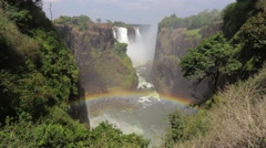 The Victoria falls with mist from water Stock Footage