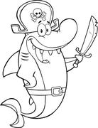 Black And White Pirate Shark Cartoon Character Holding A Sword - stock illustration