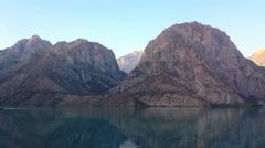 Dawn in mountains. Lake. Time Lapse. Tajikistan, IskanderKul. 1280x720 Stock Footage