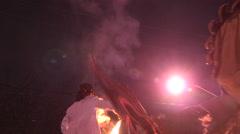 Toronto winter solstice celebration and parade in Kensington market. - stock footage