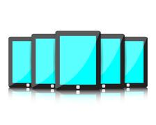 Set of digital tablets with blue blank screen Stock Illustration