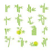 Bamboo vector symbol icons set Stock Illustration