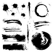 Ink grunge blots and splash Stock Illustration
