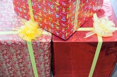 Holiday gift boxes decorated with ribbon Stock Photos