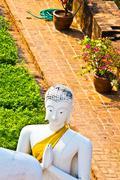 beautiful statue of buddhas in temple wat yai chai mongkol - stock photo