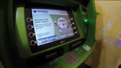 Stock Video Footage of ATM Sberbank. Card account replenishment