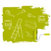 home repair  concept, sketched drawing with paint roller - stock illustration