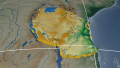 Tanzania extruded. Bumps shaded. Graticule. Stock Footage