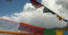 4k flying prayer flag with clouds,tibet. Stock Footage