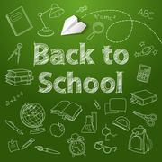 Back to school text end  vector doodle Stock Illustration