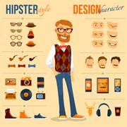 Hipster Character Pack Stock Illustration