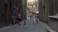 Siena Italy historic road alley tourism 4K 010 Stock Footage