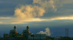 Industrial Smoke Stacks Belch Vapors or Smoke into Cold Air Stock Footage