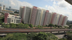 Mrt Train Passes By Singapore Estate Stock Footage