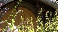 Hobbit Yellow door close up - stock footage