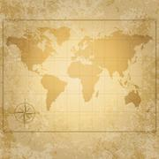 vintage vector world map with compass - stock illustration