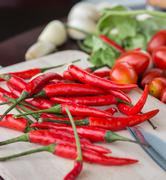 chillies and vegetables showing chili pepper and flavoring - stock photo