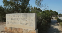 Welcome to the Tomb of the Kings sign Stock Footage