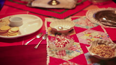 Christmas party table food Stock Footage