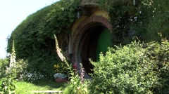 Hobbit House Green door Stock Footage