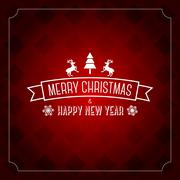 Merry Christmas greeting card template - red pattern - stock illustration