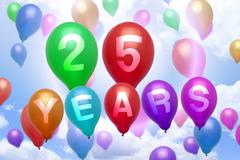 25 years happy birthday balloon colorful balloons - stock illustration
