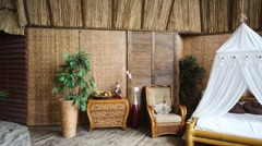 Studio decorated as beach and room in bungalow Stock Footage