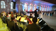 Orchestra is playing for dancers on the Kremlin Cadet Ball Stock Footage