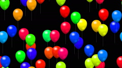 Party balloons generated seamless loop video with alpha matte Stock Footage