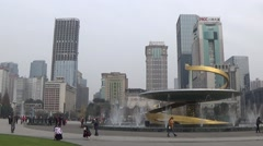 Tianfu Square central business district in Chengdu, Sichuan, China Stock Footage