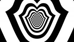 Concentric oncoming abstract symbol, kiss - optical, visual illusion - stock footage