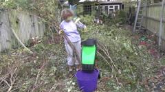 Shredding garden waste Stock Footage