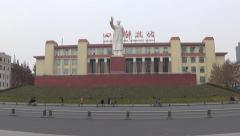 Statue of Mao Zedong,and Sichuan science and technology museum Stock Footage
