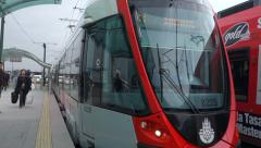 Light Rail System in Istanbul slow motion (Editorial) Stock Footage